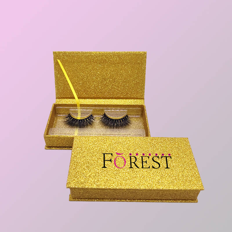 eyelash with gold glitter rectangle packaging F03