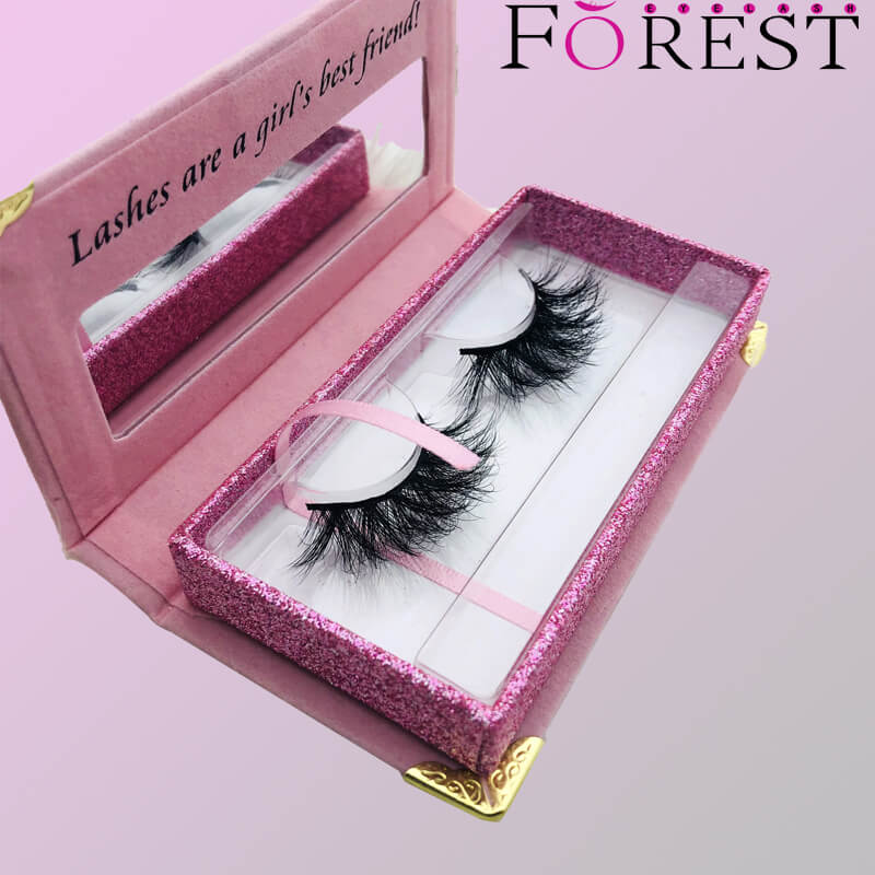 rectangle lashes box with golden Horn F02